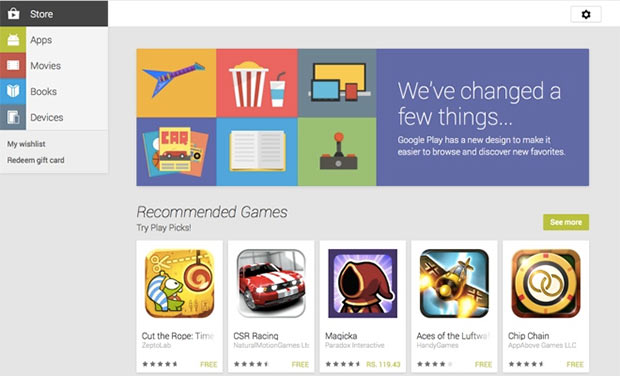 Google updated the web version of Play Store